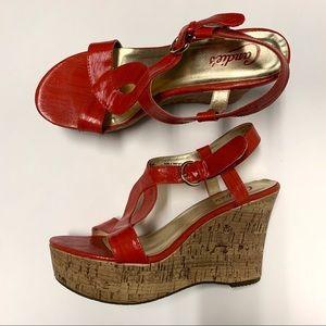 CANDIE'S Tangerine Strap Sandal Wedges Size 8M